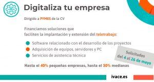Subvención IVACE Digitaliza tu empresa a teletrabajo – Comunidad Valenciana – coronavirus